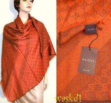"GUCCI wool/silk Orange-Brown Monogram Giant 55""-sq scarf PASHMINA shawl NWT Auth"