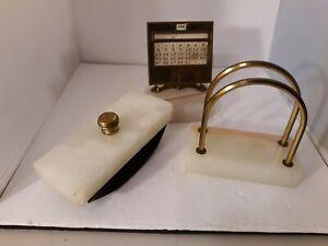 Vtg J.E Mercott Desk Calendar Rocker Ink Blotter Letter Holder Onyx/Marble 1927
