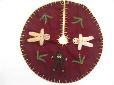 """11"""" Hand made Flannel Embroider Applique GINGERBREAD MAN CHRISTMAS TREE SKIRT"""