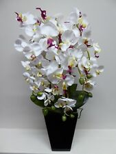 Large 70cm Artificial Orchid Plant in a Tall Black Pot White and Pink Flowers
