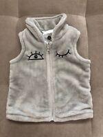 Sooki Baby Girl Fuzzy Vest Size 12 Month Gray I Love You