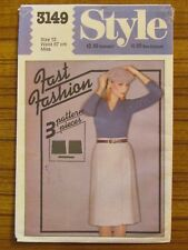 STYLE PATTERN - 3149 LADIES WRAP SKIRT FRONT PLEATS FAST FASHION SIZE 12 USED