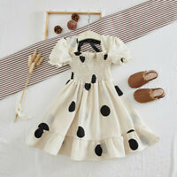 Toddler Baby Kids Girls Ruched Dot Print Dress Princess Fashion Dresses Clothes