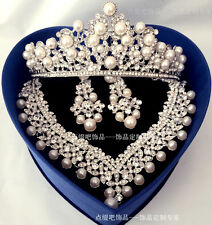 2017 New Luxury Pearl Bead Crown Necklace Sets Pageant Princess Wedding Bridal