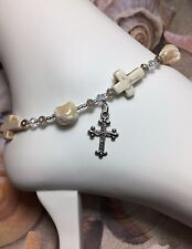 Bracelet W/Mother Of Pearl Usa Handmade Healing Howlite Stone Anklet/Ankle