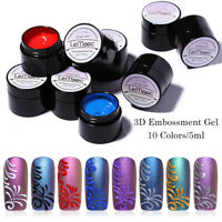 LEMOOC 5ml 3D Embossment Gellack Colorful Soak Off Nagel Kunst UV Gel Polish