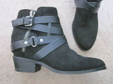 CROWN Vintage Black Fabric Strappy Ankle Boots Booties TALISA 6.5 M  - CUTE