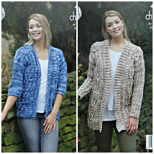 KNITTING PATTERN Ladies Long Cable Jacket & Cable Cardigan Tonal Chunky 4880