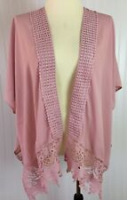 Haute Fox Rose Pink Cardigan Small/Medium Loose Fit Open Front Crocheted Lace