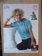 "Knitting Pattern, Woman's Short Sleeve Zip Jacket, Lace Yoke, 4ply 32-42"" Bust"