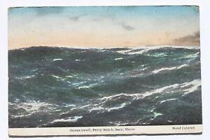Old handcolored postcard OCEAN SWELL, FERRY BEACH, SACO, MAINE