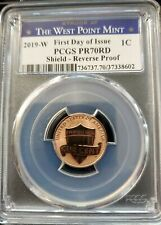 "2019 W PCGS REVERSE PR 70RD LINCOLN PENNY ""FIRST DAY OF ISSUE"" BLUE ""W"" MINT LBL"