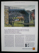 IRON BRIDGE IRONBRIDGE SHROPSHIRE ERIC THOMAS ARTIST SHELL OIL ADVERT 1967