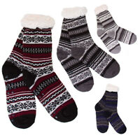 Mens Anti Slipping Winter Socks Warm Thick Fur Lined Patterned Slippers DN