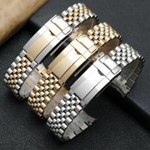 316L Edelstahl Jubilee Solid Uhrenarmband Ersatz Armband Gebogenes Ende 20mm