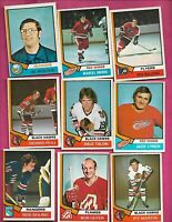 22 X 1974-75 OPC NHL PLAYERS  CARD INCL DIONNE GILBERT HULL ARBOUR (INV# C7365)