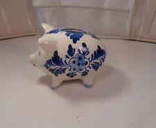 Vintage Blue Delft Piggy Bank / Money Pig Coin Bank /  Dutch Colonial Windmill