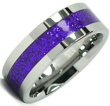 Tungsten Carbide Ring Shiny Divine Purple Inlay Wedding Band 8mm Titanium Color