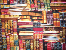 BOOKS ON SHELVES METALLIC THREAD COTTON FABRIC FQ