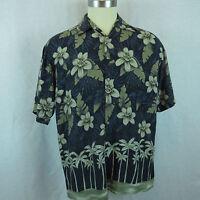Campia Navy & Gray Hibiscus Men's Large Hawaiian Casual Bowling Shirt