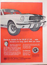 1966 Motor Wheel Shelby GT 350 Mustang ORIGINAL OLD AD C MY STORE 5+= FREE SHIP