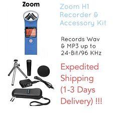 Zoom H1 Bundle Deal, Professional Digital Audio Recorder & Accessory Kit, BLUE