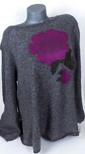 Style&Co XXL Pullover Sweater Black Heather Floral Boat Neck Long Sleeves $59.50