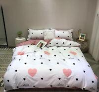 Heart White Comfort Bedding Set Duvet Quilt Cover+Sheet+Pillow Case Four-Piece