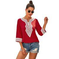 Jumper Casual Floral Loose Blouse Pullover O Neck Tops Elegant V Neck Solid