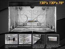 "Grow Tent 100% Reflective Hydroponic Window 600D Indoor Mylar 120""x120""x78"" Hut"