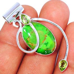 Kingman - Mohave Green Turquoise & Peridot 925 Silver Pendant BP85084 289K