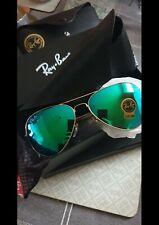 Ray-Ban Aviator Flash Lenses Occhiali da Sole Uomo - Oro verd Flash, 58mm