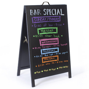 Black Metal A-frame/Sandwich Chalkboard Advertising Display Board Poster Stand