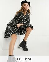 Wednesday's Girl Smock Dress Size 6,8,12,20,24 & 28 Black Daisy Print New GW51