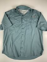 Mens COLUMBIA PFG Short Sleeve Shirt Fishing Camping Outwear Size L Color Light