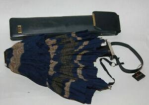 Vintage KNIRPS Folding Umbrella w/Original Carrying Case - Vintage Blue Umbrella