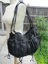 GENUINE LEATHER BOHO FESTIVAL LARGE SLOUCH TASSEL FRINGE SHOULDER DUFFEL BAG