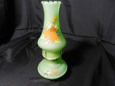 "P&A Risdon Oil Lamp w Chimney Green Satin Orange Florals Hndptd Lynn 12 1/8"" T"