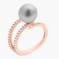 Michael Kors Grey Pearl Embellished Crystal Pave Rose Gold Tone Ring Size 7