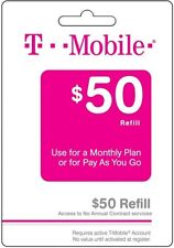T-Mobile $50 Prepaid Refill Card, Top Up, Reload, Pin, Air Time
