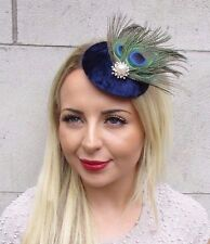 Navy Blue Green Peacock Feather Pillbox Hat Fascinator Hair Clip Races Vtg 3164