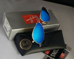 New Ray-Ban Aviator Sunglasses RB3025 112/17 58mm Ice Blue Mirror Lens