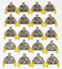 LEGO LOT OF 20 MINIFIGURE TORSOS DARK TAN POLICE WITH BADGE FIGURE SHERIFF