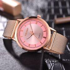 Ladies Fashion Rose Gold & Pink Dial Quartz Adjustable Mesh Band Wrist Watch.
