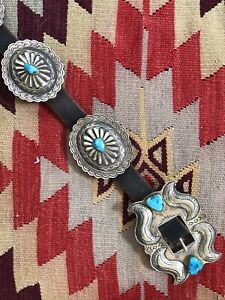 A+ Signed BW Old Pawn Sterling Silver Turquoise Navajo Southwestern Concho Belt