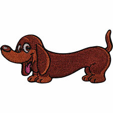 Sausage Dog Patch Iron On Sew On Dachshund Embroidered Badge Embroidery Applique
