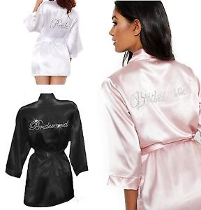 Bride Bridesmaid Robes Bridal Party Robe Wedding Hens White Pink Black