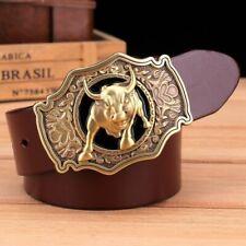 Cowboy Belt Brass Bull Buckle Genuine Leather Waist Jeans Belts Men Accessories