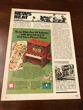 """1972 VINTAGE 8X5 TOY PRINT Ad SANKYO PLAYER PIANO """"KEEP KIDS OUT OF SALOONS"""""""