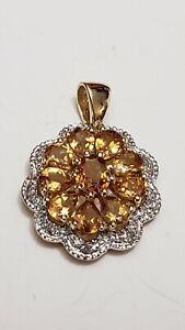 Estate 14K Yellow Gold Citrine Pendant flower cluster pendant. 2.3g